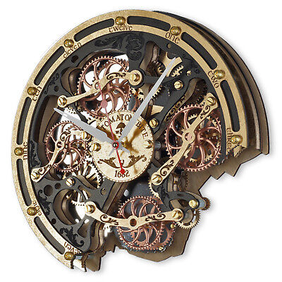 Automaton Bite 1682 Black Gold HANDCRAFTED moving gears steampunk wall clock