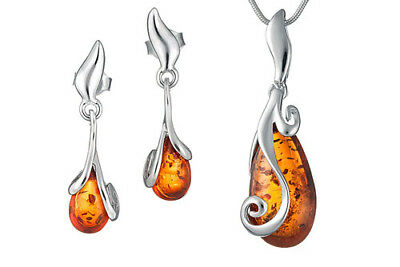 Sterling Silver Natural Amber Dops Set Pendant Earrings Jewelry Jewellery +Chain