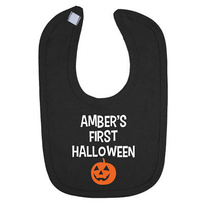 Personalised My First 1st Halloween Baby Toddler Bib, Pumpkin Design, Black Bib