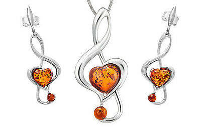 925 Sterling Silver Natural Baltic Amber Treble Clef Set Chain Jewellery Jewelry
