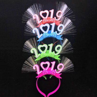 New Year's party favors  2019 LED Light-Up Fiber Headband/ Flashing woman