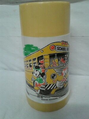 1960s Walt Disney School Bus Thermos for Lunch Box * Vintage * Mickey Mouse 60s