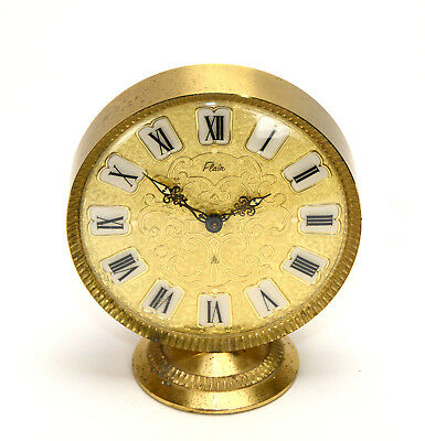 Vintage French Engraved Dial Heavy Brass Round Clock w Half Hour & hour Striking
