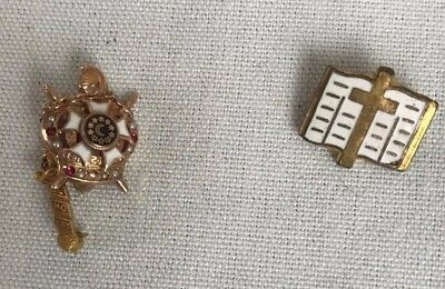Vintage DeMolay 10K Gold & Seed Pearl Masonic Pin With Bible Lapel Pin