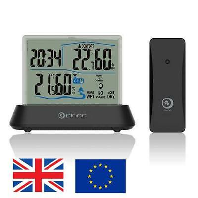 Digoo Digital Wireless Transparent Indoor Outdoor Hygrometer Thermometer Clock
