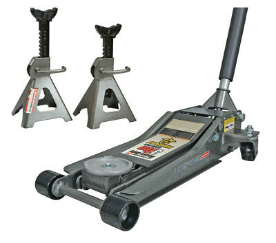 3 Ton Low Profile Floor Jack and Jack Stands Set Steel Hydraulic Jack Dad Gift