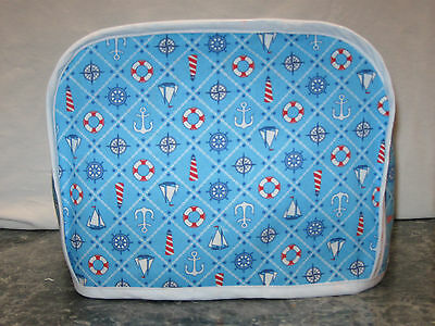 Sailboat anchor lighthouse cotton fabric Handmade 2 slice toaster cover (ONLY)