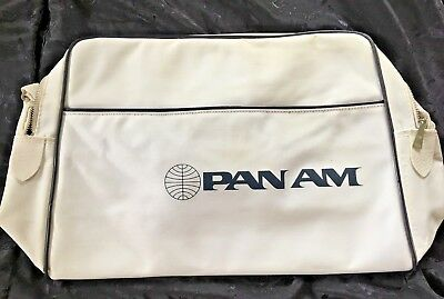 Vintage Pan Am White Carry On Tote Bag Authentic Stewardess Luggage