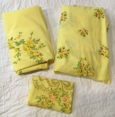 Vtg JC Penney Sunshine Yellow Ribbons Floral Full/Double Bed Sheet Set (3 Pc)