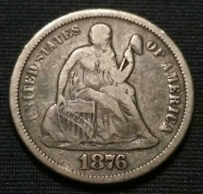 """1876 Cc Carson City Minted Silver Seated Liberty Dime ☆ Full """"liberty"""" ☆ Nice ☆"""