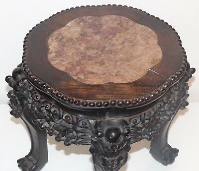 Antique Late 19th Century Chinese Hardwood Pot / Urn Stand with a Marble Insert.