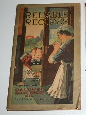 1918 Calumet Baking Powder Co.Reliable Recipes Chicago,Ill & 1900's Promo Tablet