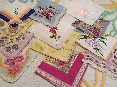 Lot of 12 VtG FLORAL HANKIES ~ Roses Pansies Tulips Daffodils ~ VERY PRETTY!!