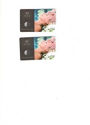WAYSPA.COM gift cards, two $50 cards, only sold together, never registered