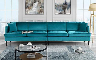 Mid Century Modern Extra Large Velvet Sofa, 4 Seat Living Room Couch (Blue)
