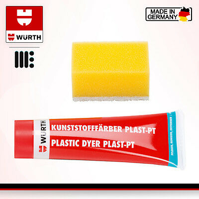 WURTH PLASTIC DYE BLACK 75ml BUMPER AND TRIM RESTORE - FAST AND FREE DELIVERY
