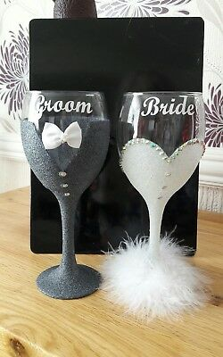 Bride and Groom Glitter Wine Glasses