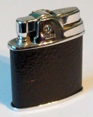"Vintage RONSON Black Leather ""Sport"" Pocket Lighter ~ 1/2"" W x 2"" T ~ EUC"