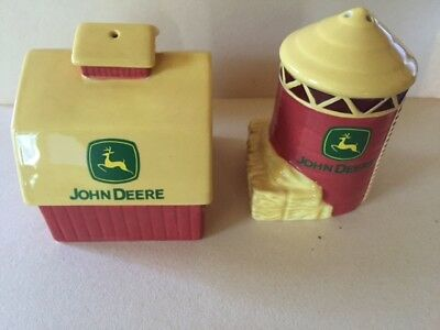 JOHN DEERE Ceramic Red and Yellow Barn and Silo Salt and Pepper Shakers