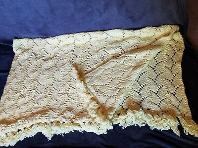 "Vintage Hand Made Crochet Soft Yellow Cream Afghan Lap Throw 60""x47""~Nice"