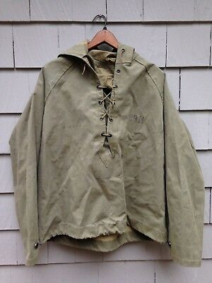 VTG WWII USN US Navy Deck Rain Parka Lace Up Pullover/Jacket Small,Stenciled