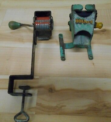 Lot of 2 different Antique or Vintage Hand Crank Pea Sheller one marked Holmes