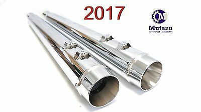 "MUTAZU 4"" Chrome Megaphone Slip-On Mufflers Exhaust 2017-up for Harley Touring"