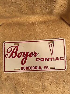 Car Dealer Dealership License Plate Boyer Pontiac Robesonia PA