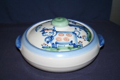 M A Hadley 2 qt Country Scene Blue Pig & Cow Casserole with Lid