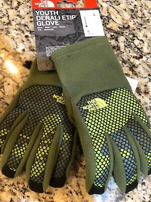 New The North Face Youth Denali Etip Gloves Youth Size Large Green NF0A2T85HPY