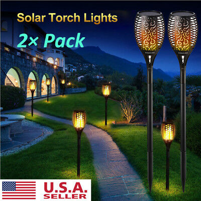 2Pack Solar Power Waterproof 96LED Flickering Flame Lights LED Torch Garden Lamp