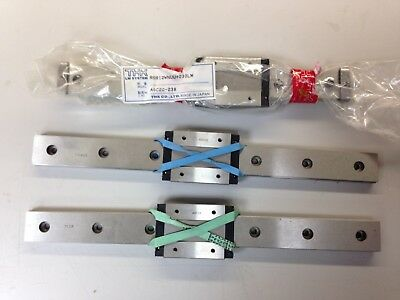 Three THK linear rail & carriage sets, one 24mm x 230mm, & two 24mm x 255mm