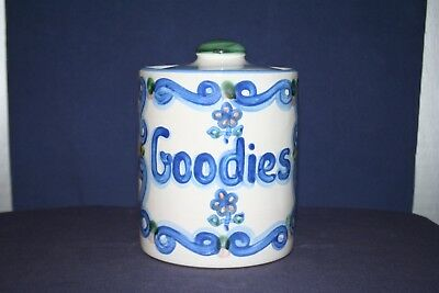 "M A Hadley Country Scene Blue Cookie Goodies Jar with Lid ""Please Fill Me!"""