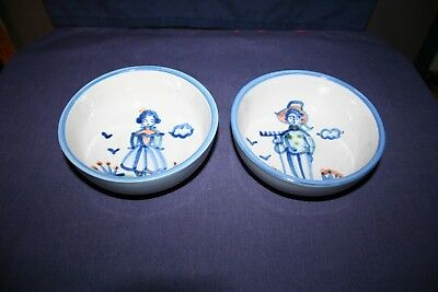 "2 M A Hadley Country Scene Blue 5 1/2"" Coupe Cereal Bowls Farmer & Girl"