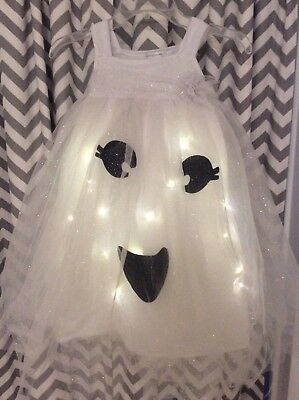 PERFECT CONDITION- Pottery Barn Kids Ghost Tutu Light-Up Costume Girl Sz 4-6