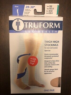 Truform 20-30 mmHg Compression Thigh High Open Toe Stockings W/ Soft Top