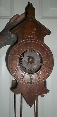 Vintage Colombus Anno 1492 Wooden World's Fair Clock ~ All Wooden Gears