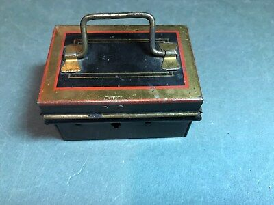 Neat Vintage Painted Tin  Miniature Cash - Strong Box - English Made