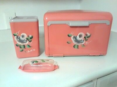 Vintage Pink & Gray Plastic Bread Box Cookie Canister & Butter Dish Hand Painted