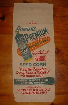 DOUBLE SIDED NOS 1950's VINTAGE BURGER & SON INDIANA CANVAS FEED CORN SEED SACK