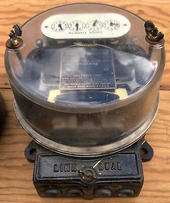 Antique Westinghouse Type Oa Electric Meter Cast Iron & Glass- Steampunk Lamp