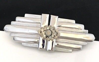 Vintage Hair Barrette  Silver Tone Clear Prong Set Crystals Bridal Prom 13D