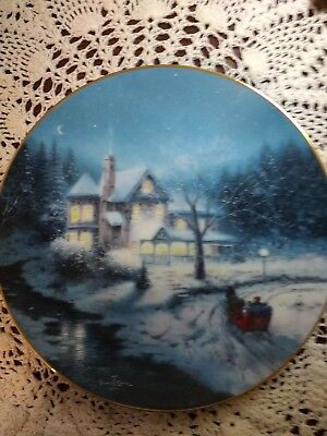 Moonlit Sleigh Ride By Thomas Kinkade Collectors Plate By Knowles