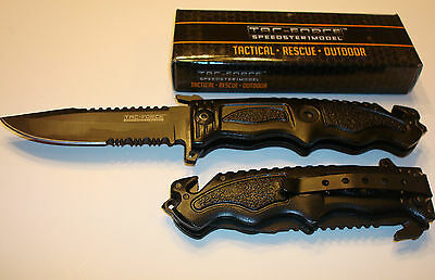Tac-Force Assisted Opening Black Tactical Sawback Glass Breaker Knife New!!!