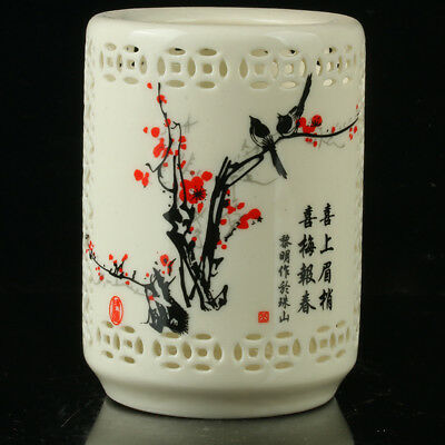 Chinese Porcelain painting Plum Blossom& Magpies Brush Pot Qianlong Mark