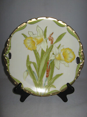 VTG Bavarian China Hand Painted Plate w/ Handles Yellow Floral Gilded Marked 9.5