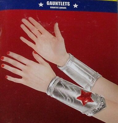 New WONDER WOMAN Adult BOOT COVERS, GAUNTLETS or Child FINGERLESS GLOVES Costume