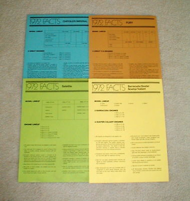 4 Chrysler Auto 1972 Vehicle Salesman Fact Sheets Fury Satellite Barracuda