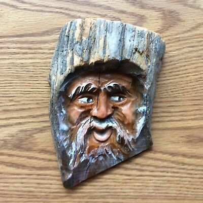 Vintage Folk Art Hand Carved Hand Painted Solid Wood Spirit Face-Made In Germany