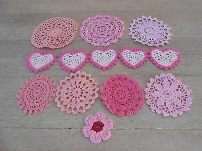 Assorted Small Crochet Doilies -Pink,coral Colours X 13